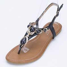 ea2ec9b4f35 Women s Crystal Bohemian Flat Sandals - Black