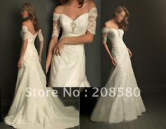 Hot sell off-shoulder v-neck A-line bridal wedding dresses gowns appliques W070