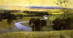 """Sir Arthur Streeton (1867-1943), """"Still Glides the Stream, and Shall for Ever Glide,"""" 1890.  Oil painting on canvas.  45.67x74.21 in.  Sir Arthur Streeton was a famous Australian landscape artist who would paint en plein air.  Working outdoors gives artists a sensual connection to nature by feeling, smelling, and responding to light and weather."""