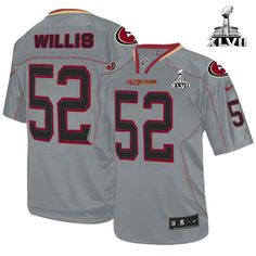 NFL NIKE San Francisco 49ers http://#52 Patrick Willis Lights Out Grey With Super Bowl Patch Mens Elite Jersey$129.99