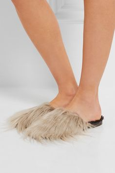 Slight heel Oatmeal faux faur, black shearling (Lamb) Slip on Designer color: Natural Made in Italy Small to size. See Size & Fit notes.