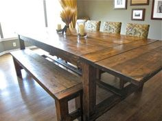 "Aaaa! Now I love this farm table more. I definitely want the bench and the extensions take it from 96"" to 126"". So cool."