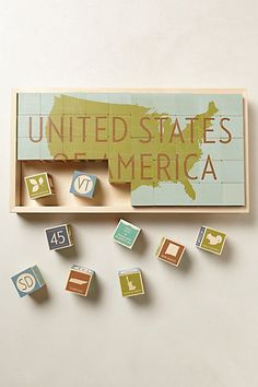 Uncle Goose of Michigan designed these USA building/learning wooden blocks for children.