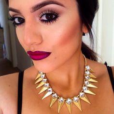 Rebel lipstick & nightmoth liner on the lips necklace from ShopDeelis. Mac Makeup, Makeup Tips, Beauty Makeup, Neutral Eye Makeup, Creative Eye Makeup, Eyes Lips Face, Spike Necklace, Exotic Beauties, Mac Eyeshadow