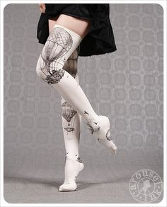 I love these! I wish they were mine! new Ivory Thigh Highs Hot Air Balloons by Carousel by Carouselink