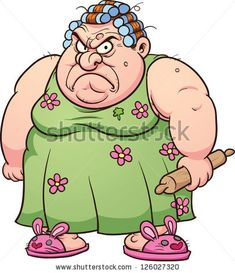 Fat angry woman. Vector clip art illustration with simple gradients. All in a single layer.