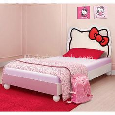 Hello KittyR Twin Bed This Adorable Features A Fully Upholstered Headboard With The Iconic Kitty Silhouette And Solid Wood Construction