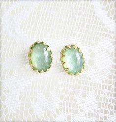 Spring Mint Earrings Dusty Green Willow Fall Trends Winter Frosty Pistachio Romantic Gold Post Earrings Studs Summer Fashion
