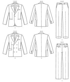Flat Drawings, Flat Sketches, Suit Pattern, Jacket Pattern, Fashion Design Drawings, Fashion Sketches, Vogue Patterns, Sewing Patterns, Vintage Patterns