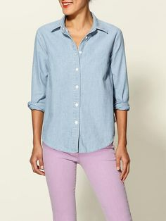 chambray top + colored denim