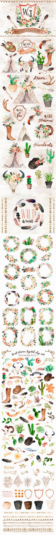 rustic wedding country western style feminine clip art cowgirl boot wedding invitation heraldry floral wreaths feathers gun tipi cactus cowboy hat cowgirl hat succulent flower pots floral design elements Clip Art Feminine / Girly Graphics / PNG / Stock Images for Wedding Invitations or Party Invites, watercolor
