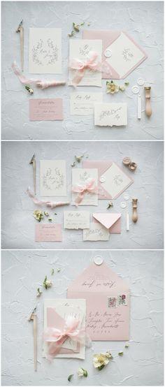 Simple Elegant Blush Pink Wedding Invitations 06CGNz