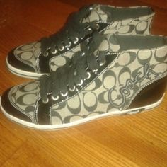 Authentic Coach men's shoe's sz 10B Brand new my husband only wore them for an hour then decided he didn't like them. Great find for the lucky posher who buys these. Coach Shoes Sneakers