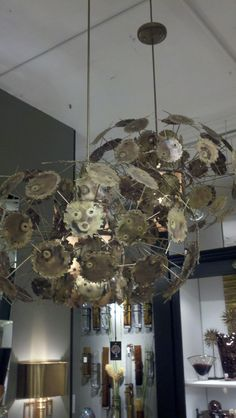 Brass is back, modern/retro light fixture at Global views