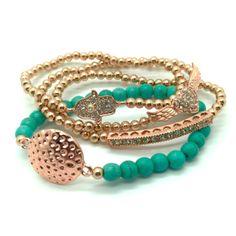 Blue and Copper Bracelet Stack - Set of 4