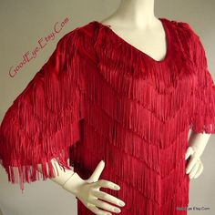 Red FRINGE  Flapper Dress size 12 14 16  SHAKE and by GoodEye, $145.00