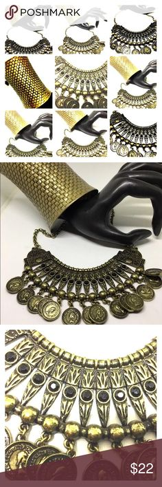 BRASS COLORED COIN NECKLACE W/ BLACK CRYSTALS Really Glam coin necklace look great in BRASS COLOR! Dresses up your outfit. Unusual Color. Goes great with cuff bracelet that is listed! Suburban2Urban Jewelry Bracelets