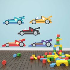 Childrens Racing Cars Wall Stickers, Vehicle Wall Decals, Boys Wall Art, Bedroom Wall Transfers - Removable and Repositionable - Boys Wall Stickers, Kids Wall Decals, Contemporary Wall Stickers, Design Stand, Wall Transfers, Design Garage, Car Fabric, Boy Wall Art, Fabric Textures
