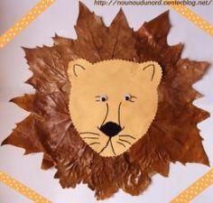 Lion craft with leaves Kids Crafts, Leaf Crafts, Preschool Crafts, Fall Crafts, Arts And Crafts, Fall Art Projects, Animal Projects, Animal Crafts, Art Stuff For Kids