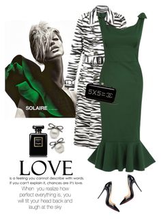 """Fishtail wiggle dress"" by lera-chyzh ❤ liked on Polyvore featuring Christian Louboutin, Chanel, women's clothing, women, female, woman, misses, juniors, dress and fishtail"