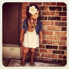 Western style  flowers autumn country boots denim dresses kids fashion children's fashion photography girls style