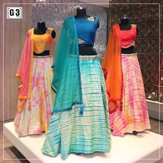 The traditional silhouette of lehenga gets an eclectic modern crop top blouse. which one is your favourite for this festive season? ONLY available at Sutaria Ghoddod Rd Store. To Shop with Live Video Calling Service appointment or For Instant Price an Indian Attire, Indian Ethnic Wear, Indian Dresses, Indian Outfits, Indian Clothes, Chanya Choli, Lehenga Choli, Sarees, Lehnga Dress