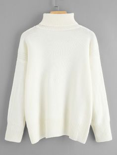 Drop Shoulder Ribbed Trim High Neck SweaterFor Women-romwe