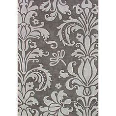 @Overstock.com - Hand-tufted Grey Floral Wool Rug (5' x 8') - Hand-tufted in India, this fashionable wool rug features a vibrant floral pattern. A plush pile height completes the look and feel of this modern floral area rug.  http://www.overstock.com/Home-Garden/Hand-tufted-Grey-Floral-Wool-Rug-5-x-8/4579366/product.html?CID=214117 $172.99