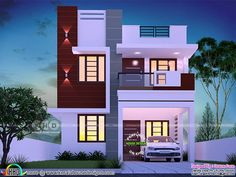 Budget friendly cute small double storied house plan in an area of 1450 square feet by Dream Form from Kerala. Small Modern House Plans, Modern Small House Design, House Outside Design, House Front Design, 2 Storey House Design, Bungalow House Design, Double Story House, Model House Plan, Kerala House Design