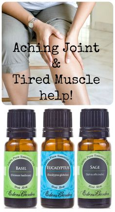For aching joints/tired muscles- Mix 1 drop Eucalyptus, Sage & Basil with 12 drops of an EGCO & apply to muscles/ joints. Good for sore muscles from running! Edens Garden Essential Oils, Pure Essential Oils, Neck And Back Pain, Sore Muscles, Natural Healing, Pain Relief, Health And Beauty, How To Apply, Drop