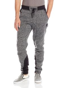 Southpole Men's Marled Fleece Jogger Pants with Color Block On Bottom, Marled Black, XX-Large ❤ Southpole Young Men's Sportswear Track Pants Mens, Mens Jogger Pants, Fleece Joggers, Jeans Pants, Sweatpants, Style Masculin, Joggers Outfit, Camisa Polo, Black Pants
