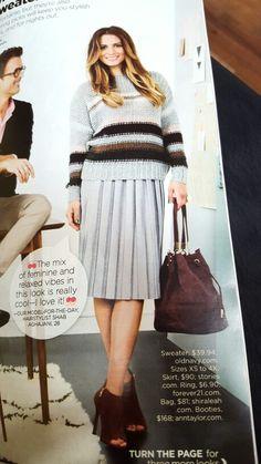 Pleated skirt, chunky sweater
