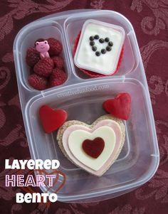 Layered Heart Bento Lunch creativefunfood.com