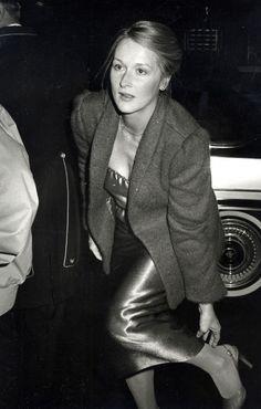 Meryl Streep wears a metallic dress, blazer, and slingback heels in 1979