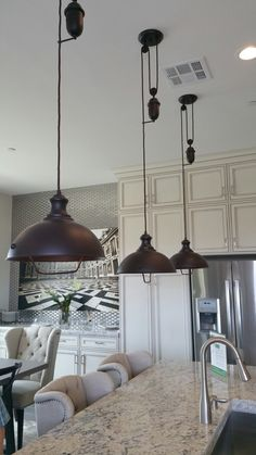 These vintage reproduction lights would be perfect in my farmhouse kitchen. You can pull them down by the handle to clean. Farmhouse Kitchen Lighting, Downlights, Lampshades, Light Fixtures, New Homes, Handle, Ceiling Lights, Decorating, Vintage