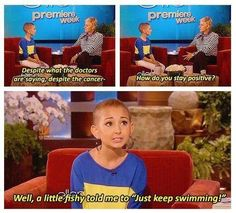 She is inspiring. Both ellen and this young girl.