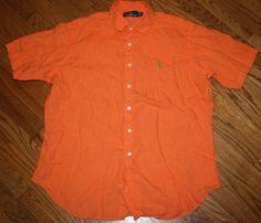 Polo Ralph Lauren Linen Shirt Mens XL orange short-sleeve button-down/green pony #poloralphlauren #ButtonFront