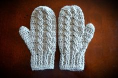 Crochet Mittens in Silver Grey  Many colors by MontanaDaisyGirl