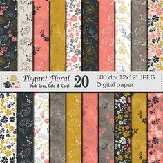 Seamless Elegant Floral Digital Paper, Hand Drawn Flowers Seamless Pattern, Grey Gold Coral Floral Printable Scrapbook Paper by VRDigitalDesign on Etsy