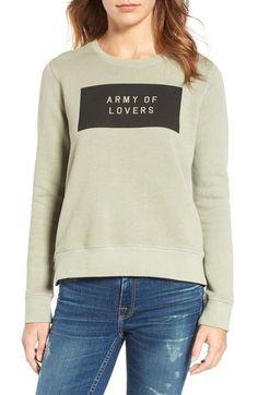 SUNDRY Army of Lovers Side Zip Sweatshirt Army
