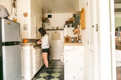 Many of the items in this kitchen are from thrift stores, garage sales and estate sales.