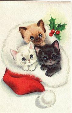 Cat Christmas Cards, Christmas Kitten, Christmas Drawing, Christmas Scenes, Noel Christmas, Christmas Paintings, Christmas Animals, Vintage Christmas Cards, Retro Christmas