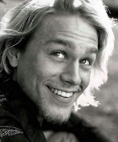 Woke up too early from a lovely dream about Charlie Hunnam this morning. Also, you almost never get to see his beautiful smile on SOA.
