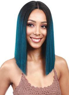 Bobbi Boss MLF136 Yara Lace Front Wig Color (2) Bob Lace Front Wigs, Synthetic Lace Front Wigs, Synthetic Wigs, Ombré Hair, Lace Hair, Wig Styles, Short Hair Styles, Real Hair Extensions, Langer Bob