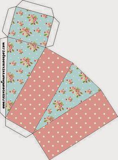 Shabby Chic en Rosa y Celeste: Cajas para Imprimir Gratis.