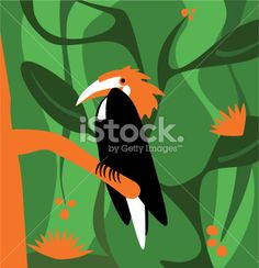 Stylized tropical bird Royalty Free Stock Vector Art Illustration