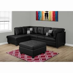 Monarch Specialties Bonded Leather Sectional Sofa - I 8375IV