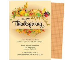 1000 images about thanksgiving party invitations for Free thanksgiving templates for word