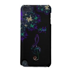 Personalized Dark Fractal Music Clef iPod Case iPod Touch (5th Generation) Covers