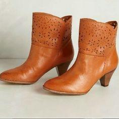 1HR Sale  Anthropologie Latigo Booties Burnt Orange. EUC kitten heel. Very cute with cropped jeans or leggings. Anthropologie Shoes Heeled Boots